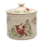 Casafina Deer Friends Linen Stoneware 8-Inch Cookie Jar