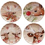 Casafina Deer Friends Linen Stoneware 10-1/2 Inch Dinner Plate, Set of 4