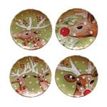 Casafina Deer Friends Green Stoneware 8-1/2-Inch Dessert Plate, Set of 4