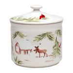 Casafina Deer Friends White Stoneware 8-Inch Cookie Jar