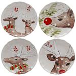 Casafina Deer Friends White Stoneware 10-1/2 Inch Dinner Plate, Set of 4