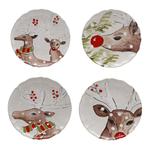 Casafina Deer Friends White Stoneware 8-1/2-Inch Dessert Plate, Set of 4