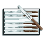 Victorinox Stainless Steel 6 Piece Round Tip and Wavy Edge Steak Knife Set with Rosewood Handles