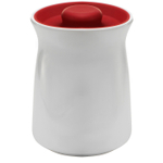 Anchor Hocking Ceramic Studio Canister with Cherry Red Airtight Silicone Lid, 64 Ounce