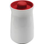 Anchor Hocking Ceramic Studio Canister with Cherry Red Airtight Silicone Lid, 96 Ounce