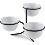 White Essentials 3 Piece White Porcelain Bowl Set with Rack