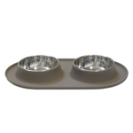 Messy Mutts Warm Grey Silicone Medium Double Feeder with Stainless Steel Bowls