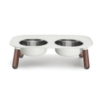 Messy Mutts Light Gray Elevated Double Feeder with Stainless Steel Bowls and Faux Wooden Legs