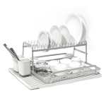 Ta Da Two Tier Aluminum Dish Rack with Light Gray Silicone Drying Mat