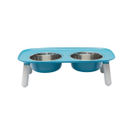 Messy Mutts Blue Elevated Double Feeder with Stainless Steel Bowls