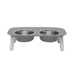 Messy Mutts Gray Elevated Double Feeder with Stainless Steel Bowls