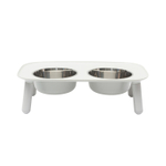 Messy Mutts Light Gray Elevated Double Feeder with Stainless Steel Bowls
