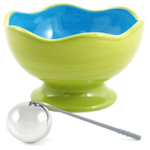Soiree Party Serving Green and Blue Pedestal Bowl and Chilling Sphere Set