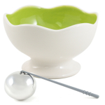 Soiree Party Serving White and Green Pedestal Bowl and Chilling Sphere Set