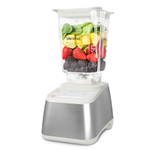 Blendtec Designer 725 Stainless Steel on White Blender with WildSide+ Jar and Silicone Blender Spatula