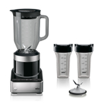 Braun PureMix Stainless Steel and Black 1.75 Quart Blender with 2 Smoothie2Go Cups and Silicone Blender Spatula