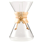 Chemex 8 Cup Hand Blown Glass Coffee Maker with Wood Collar and Tie, 40 Ounce