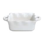 Casafina White Stoneware Square 9.5 Inch Ruffled Baker