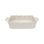 Casafina Rectangular Cream 13.5 x 8.5 Inch Ruffled Baker
