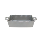 Casafina Rectangular Gray 13.5 x 8.5 Inch Ruffled Baker