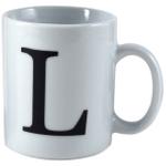 Oneida Porcelain Monogrammed Letter L Mug, Set of 6