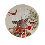 Casafina Deer Friends Linen Stoneware 6.5 Inch Canape Plate, Set of 4