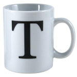 Oneida Porcelain Monogrammed Letter T Mug, Set of 6