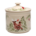 Casafina Deer Friends Linen and White Stoneware Cookie Jar, Set of 2