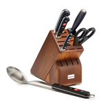 Wusthof Classic High Carbon Stainless Steel 6 Piece Walnut Block Set with Spoon