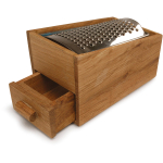 Sagaform Oval Oak Stainless Steel Cheese Grater, 5.5 Inch