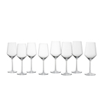 Fortessa Pure 8 Piece Red & White Wine Glass Set - 18.2 and 13.8 Ounce Sizes