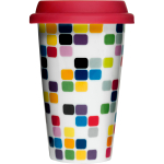 Sagaform Take Away Pix Porcelain Double Walled Travel Mug with Silicone Lid, 8.5 Ounce