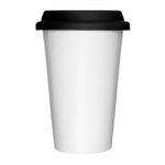 Sagaform Take Away White Porcelain Double-Walled Mug with Silicone Lid, 8.5 Ounce