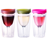 Vino2Go Merlot Red, Verde Green, and Party Pink 10 Ounce Insulated Wine Tumbler Set With Drink-Through Lids