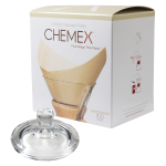 Chemex Glass Coffee Maker Cover and 100 Count Bonded Unbleached Pre-Folded Square Coffee Filters
