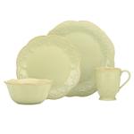 Lenox French Perle Pistachio Green Stoneware 4 Piece Dinnerware Set, Service For 1