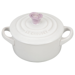 Le Creuset White Stoneware 8 Ounce Mini Round Cocotte with Provence Flower Knob