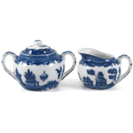 HIC Harold Import Co Blue Willow Porcelain 2-Piece Cream and Sugar Serving Set