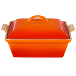 Le Creuset Heritage Flame Stoneware Covered Square Casserole Dish, 2.5 Quart