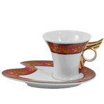 Red & Gold Leaf Angel Wing Porcelain Coffee Cup and Saucer Set 4 Pieces