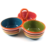 Omniware Rio Multicolored Striped Ceramic 3 Section Condiment Dish