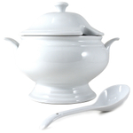 Omniware White Porcelain Covered Soup Tureen with Ladle, 2.5 Quart
