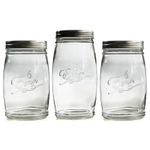 Grant Howard Erin Embossed Glass 3 Piece Jumbo 3.1 and 4.25 Quart Storage Jar Set