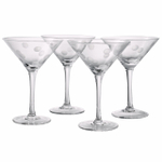 Artland Polka Dot 8 Ounce Martini Glass, Set of 4