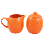 Orange Ceramic Creamer and Sugar Service Set with Lid