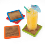Final Touch Multicolored Wood Square 4 Piece Coaster Set