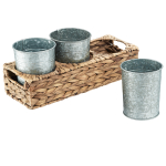 Artland Garden Terrace Seagrass 13.75 Inch Flatware Caddy with 3 Galvanized Cups