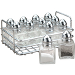 RSVP 12 Piece Mini Salt and Pepper Shaker Set with Rack