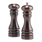 Chef Specialties Burnished Copper 7 Inch Pepper Mill & Salt Shaker Set with Blend Peppercorns