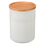 Le Creuset White Stoneware 22 Ounce Canister with Wooden Lid